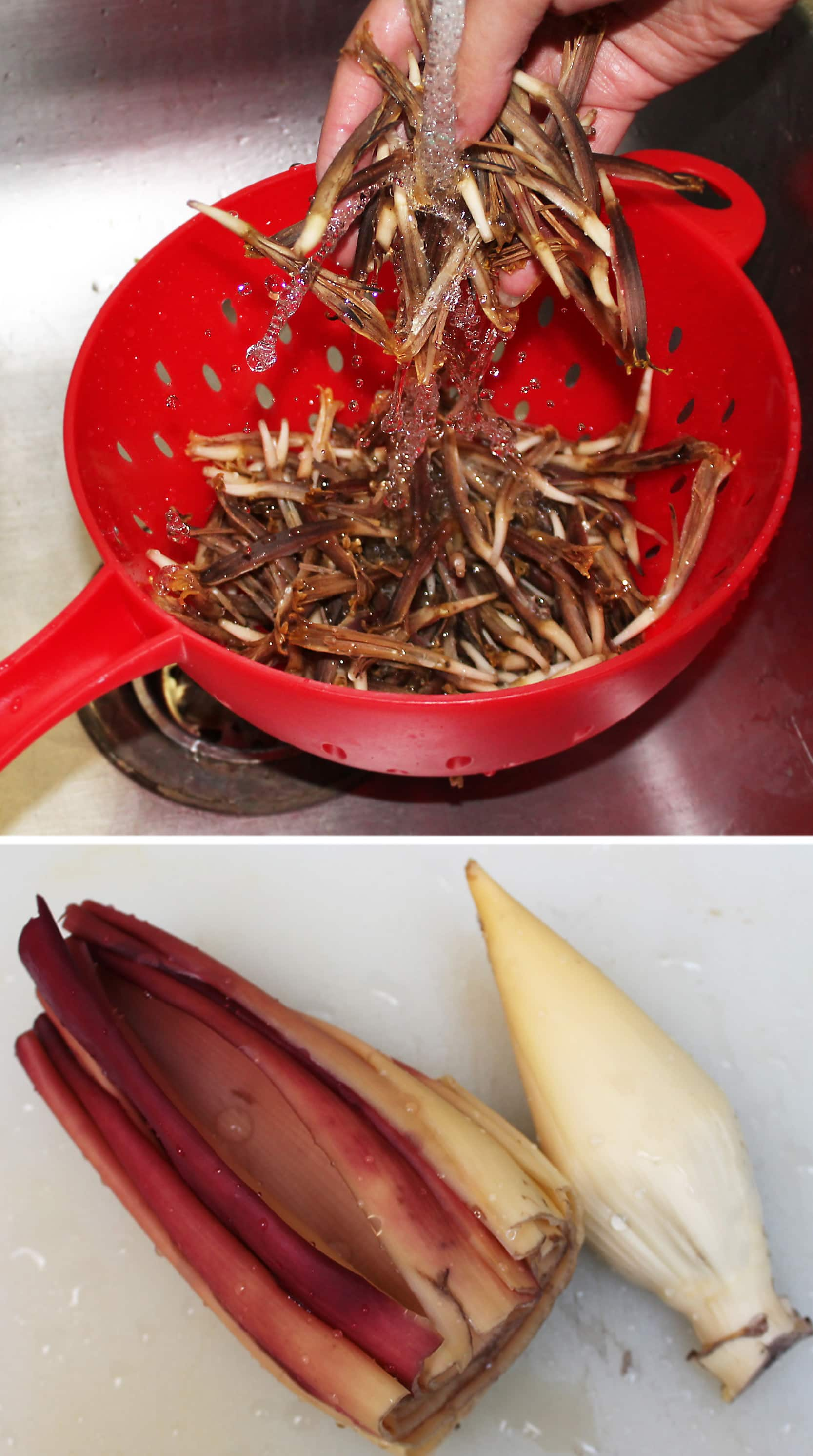 Rinsing parts of banana flower