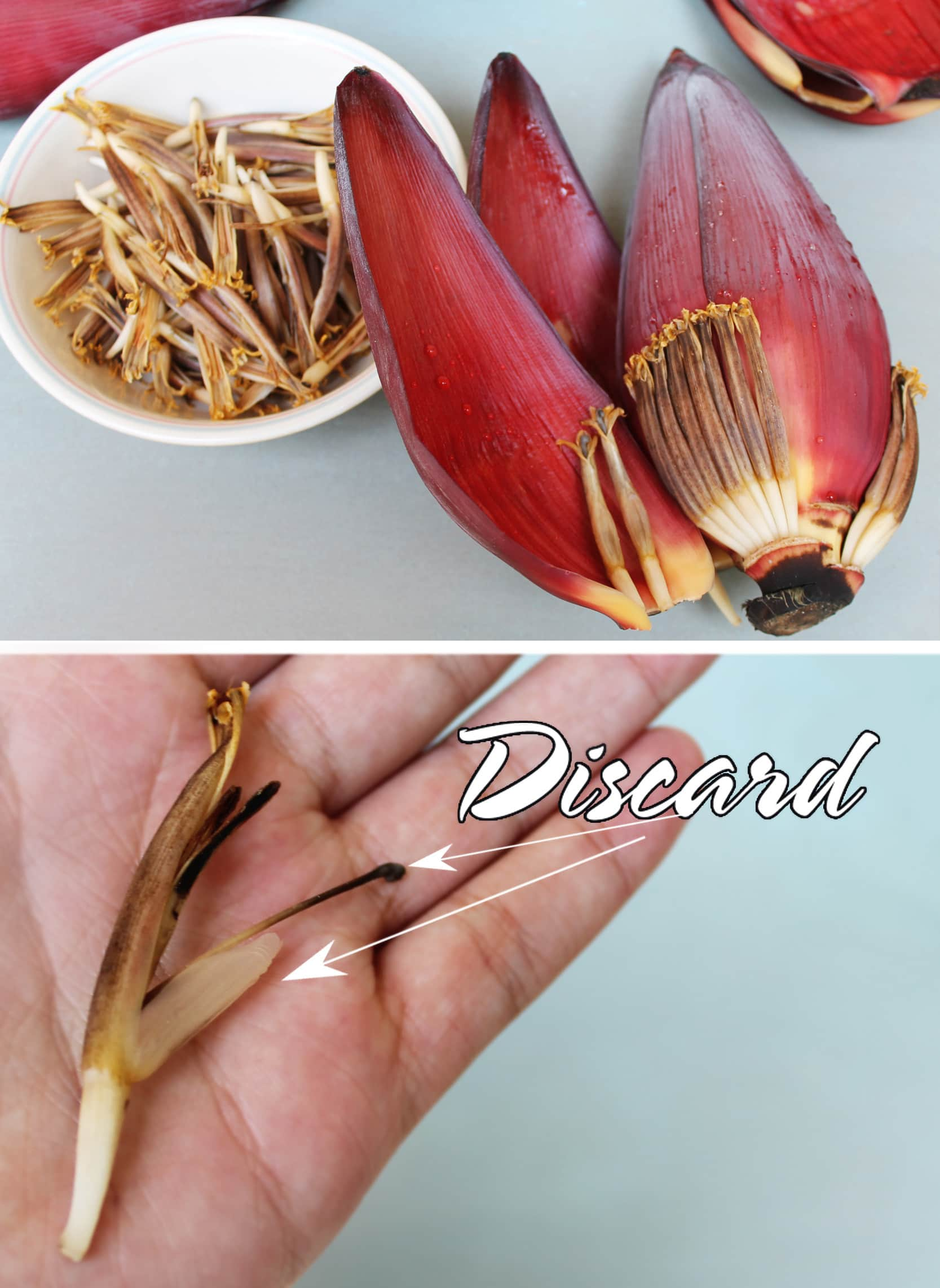 cleaning a banana flower