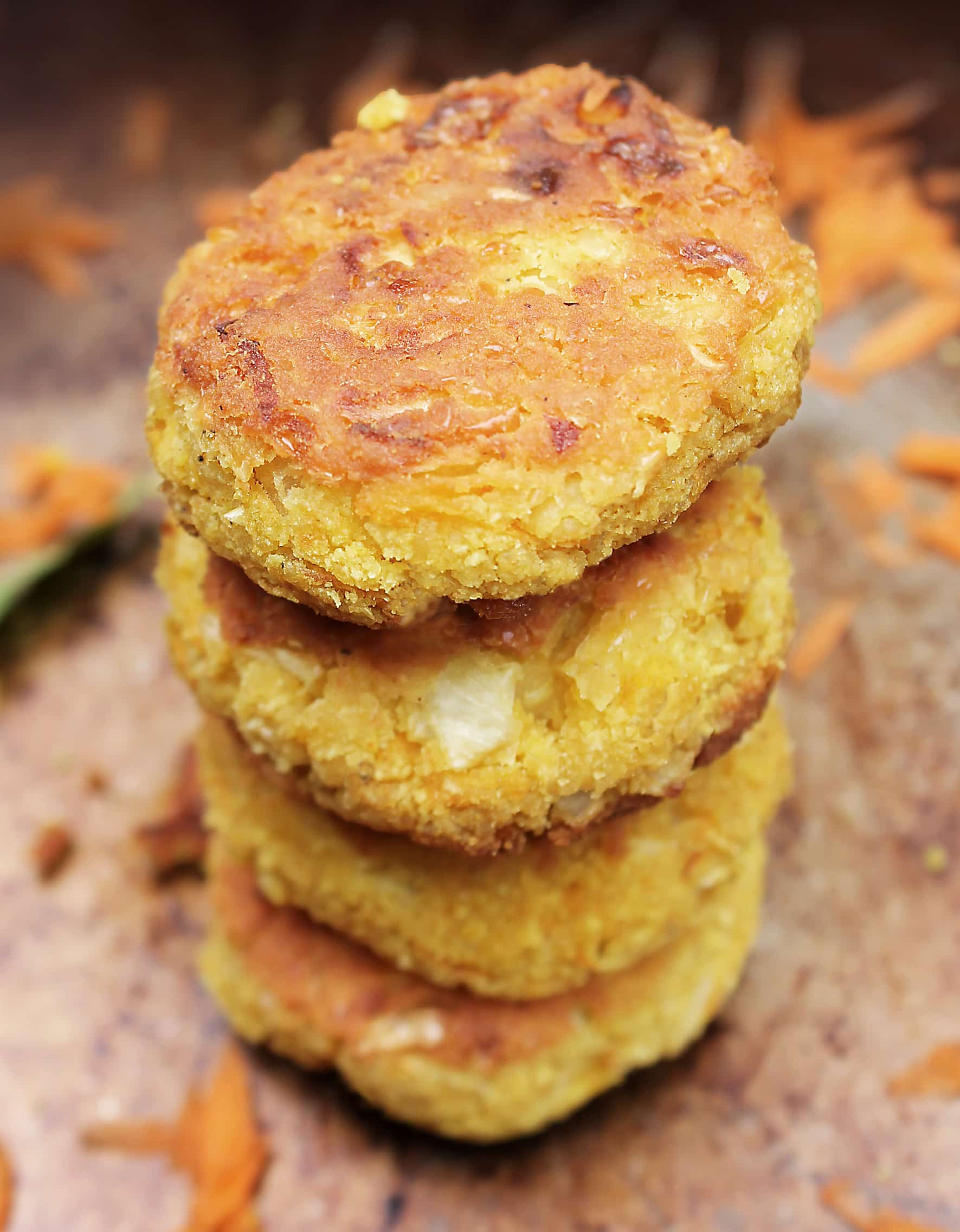 Stack of navy bean and carrot falafel