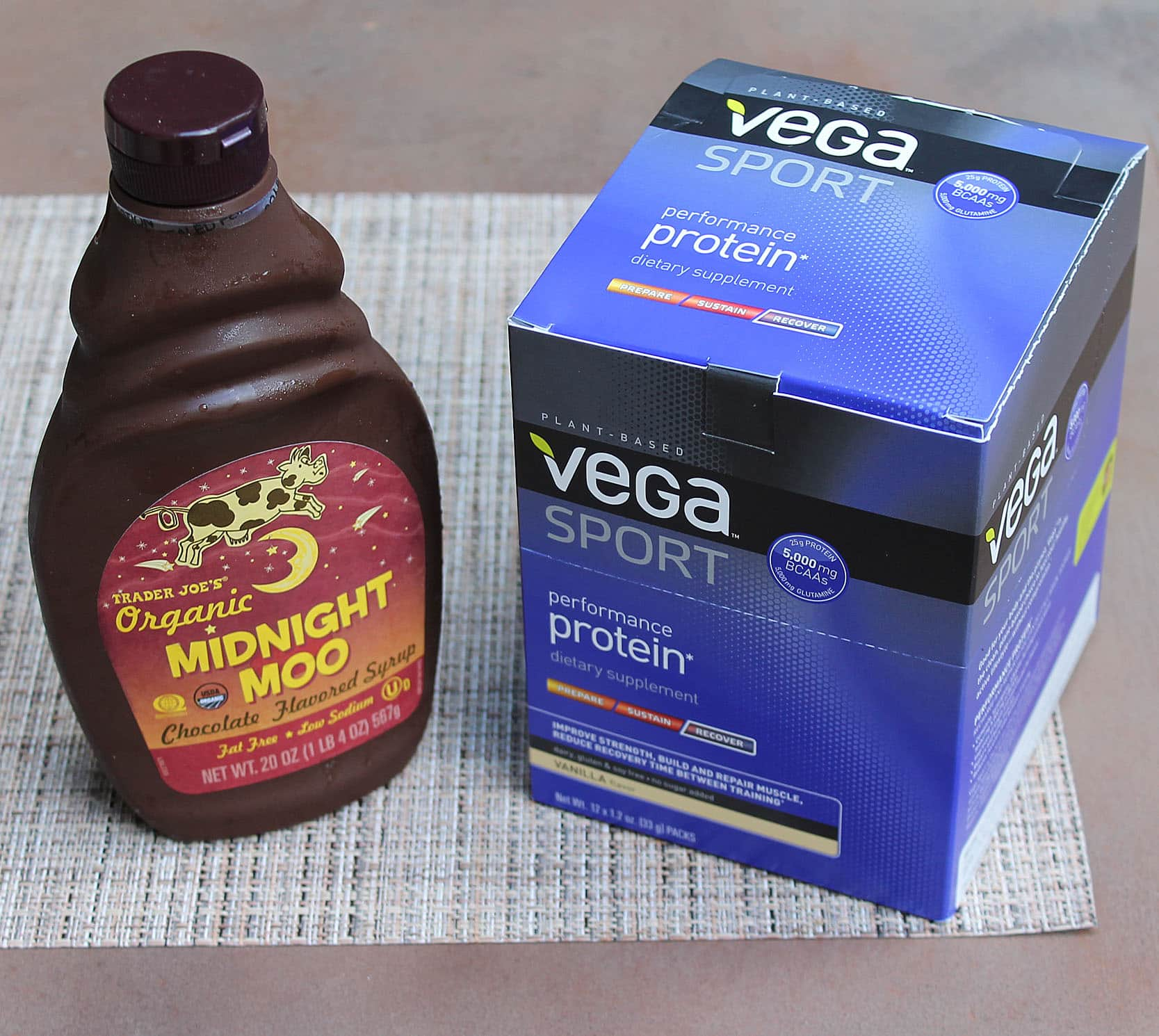 Vega Performance protein and chocolate syrup