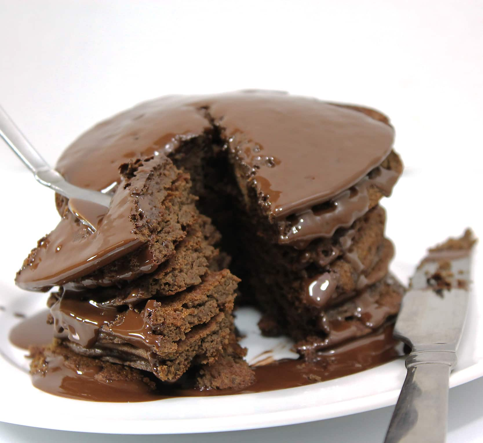 forkful of chocolate lentil pancakes