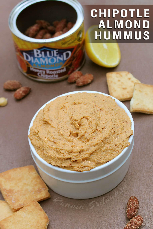 hummus w Blue Diamond Honey Roasted Chipotle Allmonds
