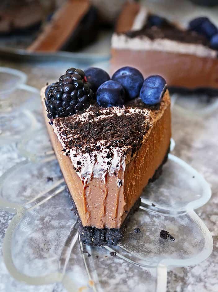 Slice of no-bake chocolate cashew cake