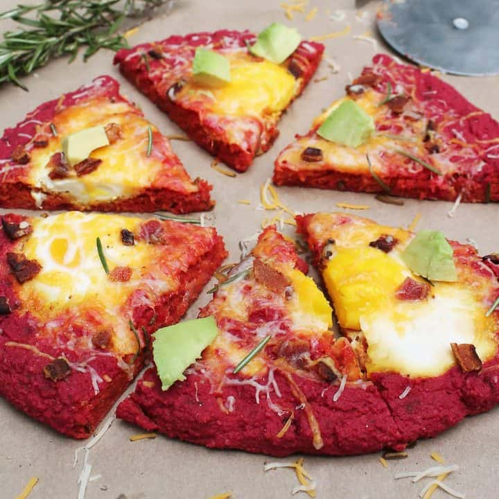 Beet Crust Breakfast Pizza w/Eggs And Bacon