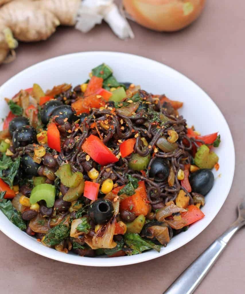 Kale-Pepper-Olives-Beans-Onions-Ginger-Garlic