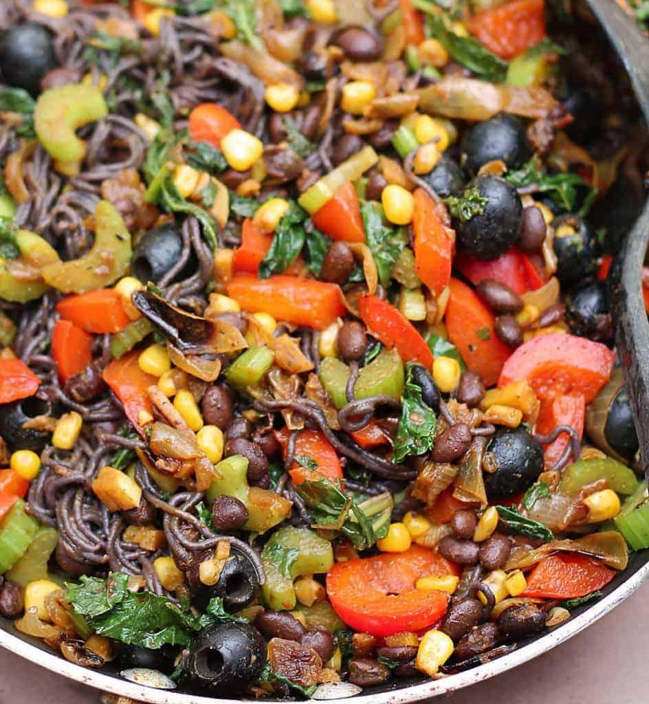 Quick Veggie Dinner With Black Rice Ramen
