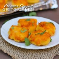 Cheddar Capped Grits Cakes {Cooking With Caitlin}