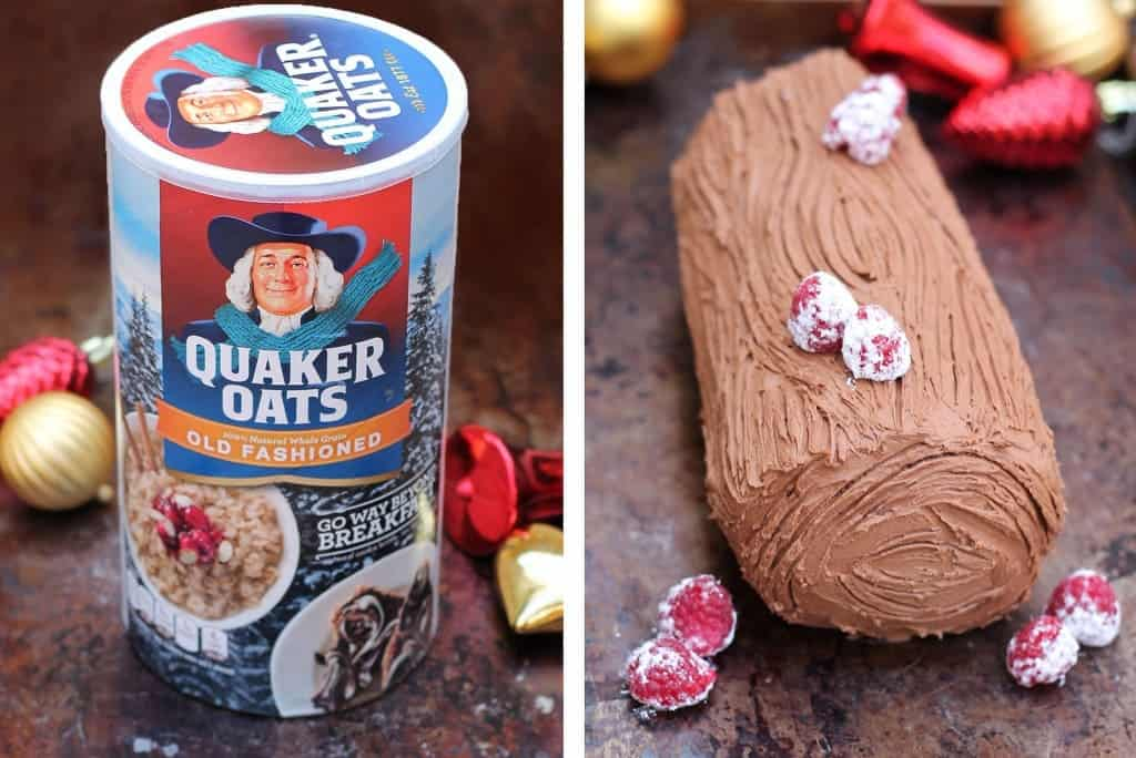 Quaker-Oats was used to make this delicious chocolate yule log