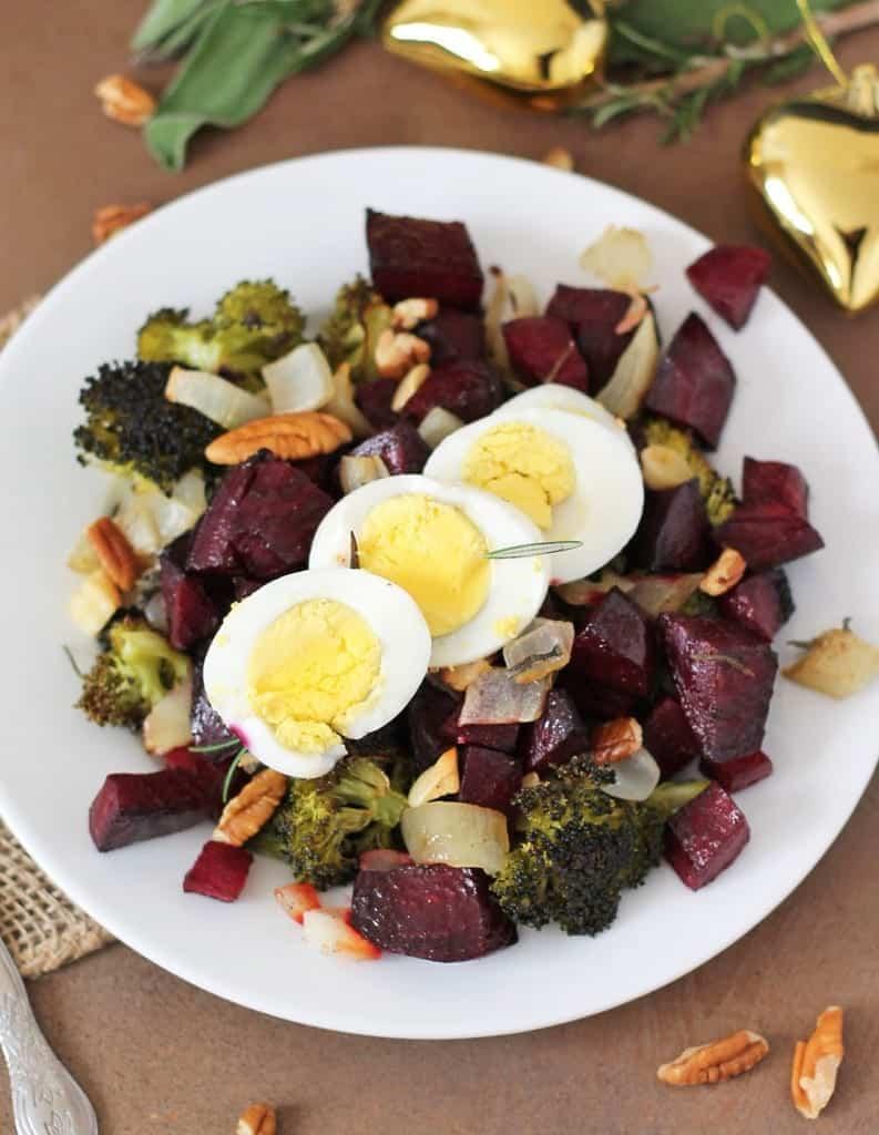 Roasted Beets Broccoli Christmas Salad