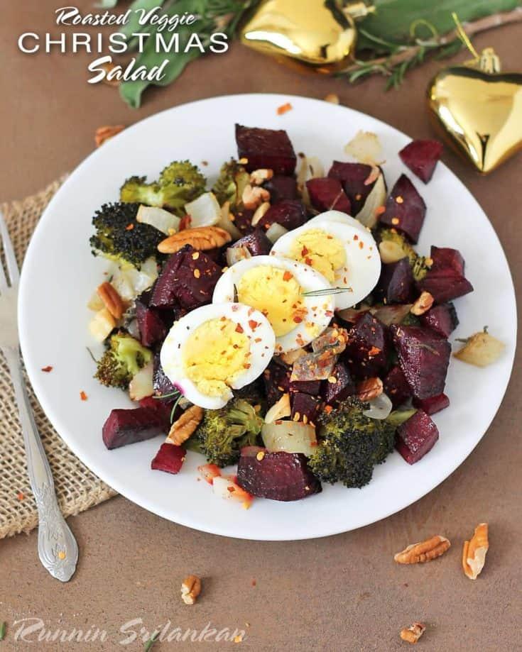 Christmas Salad.Roasted Veggie Christmas Salad