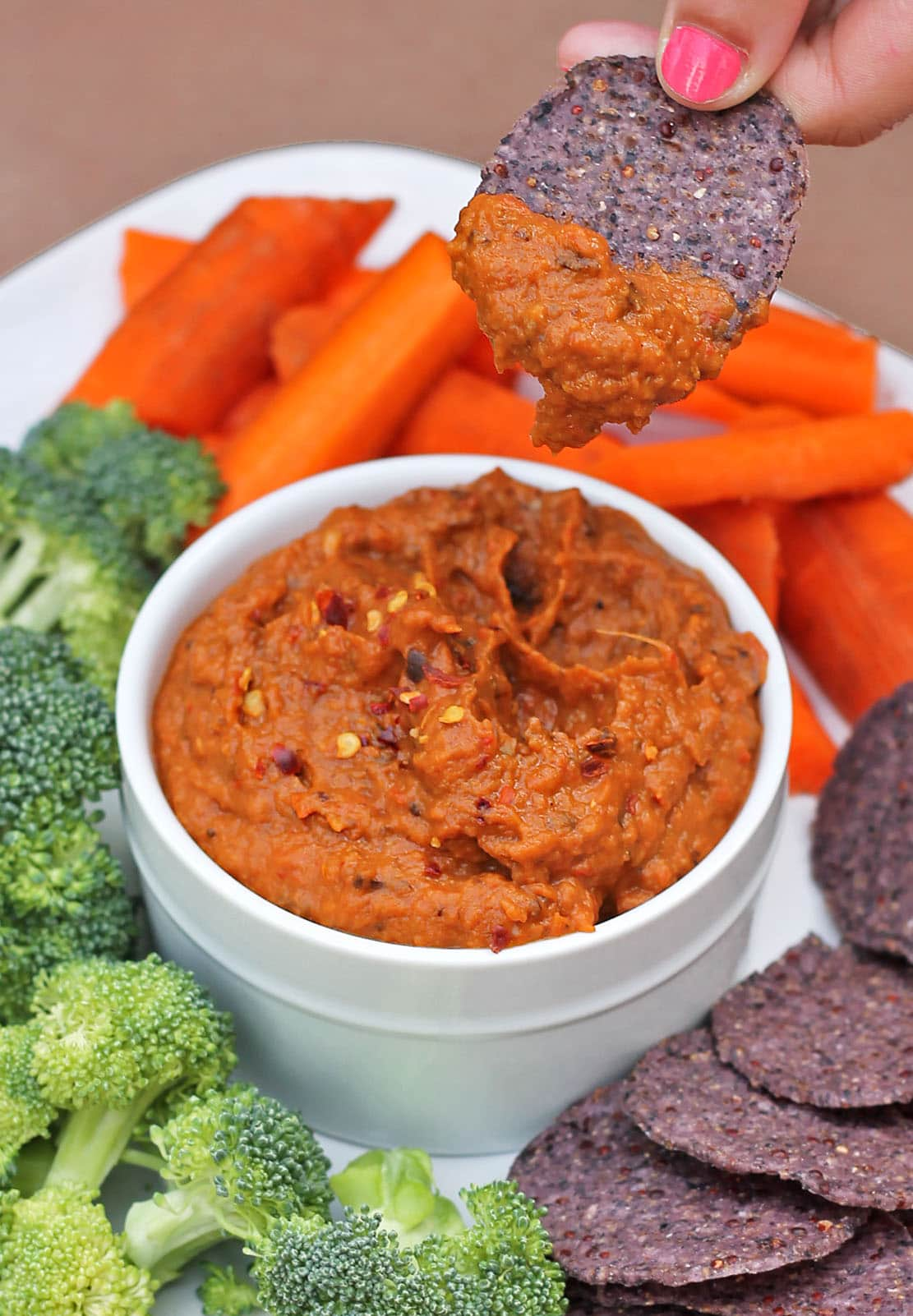 Sweet Spicy Roasted Red Pepper Eggplant Dip