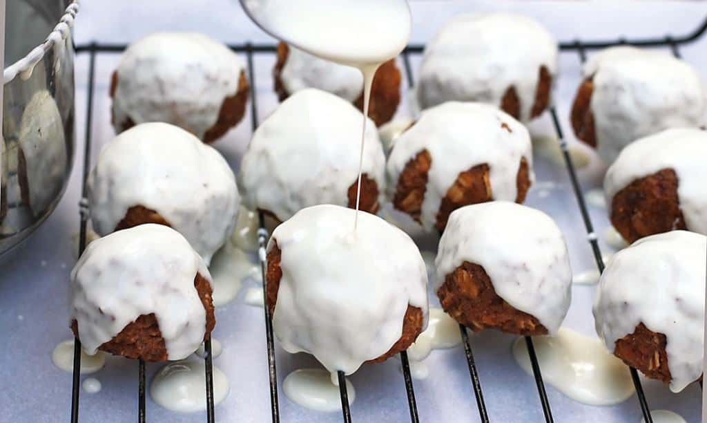 Sweet potato bites drowned in white chocolate