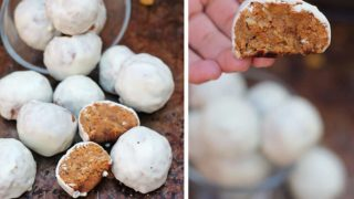 White Chocolate Drenched Sweet Potato & Raisin Bites