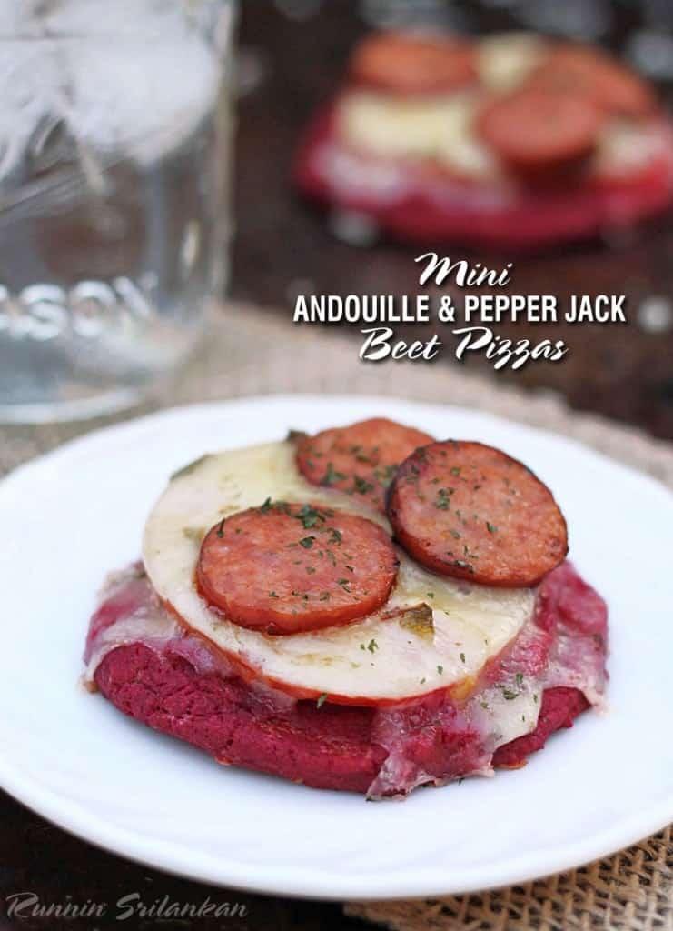 Andouille-Tomato-Pepper Jack-Beet-Mini-Pizzas-Cabot-http://RunninSrilankan.com