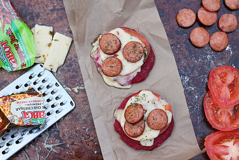 Beet-Mini-Pizzas-Cabot-RecipeRedux-Andouille-Tomato-Pepper Jack-@RunninSrilankan