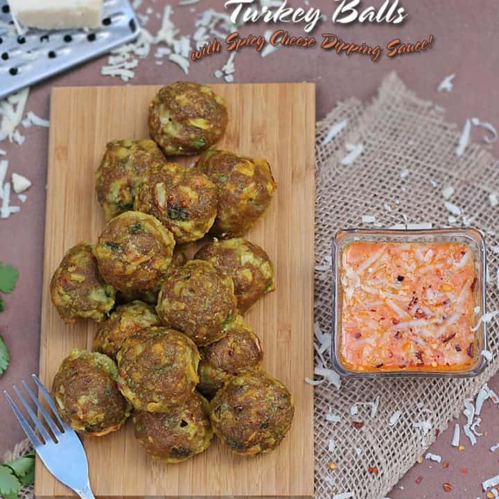 Cheesy Cheddar Stuffed Turkey Balls