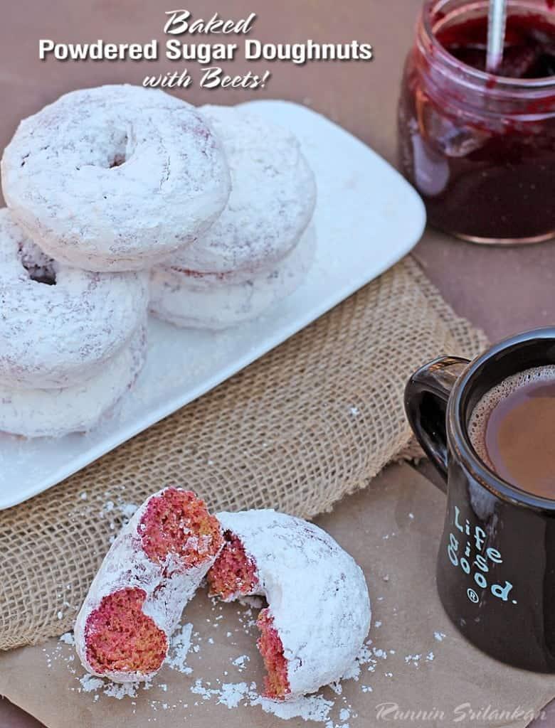 Gluten-Free-Baked-Powdered-Sugar-Doughnuts-With-Beets-@RunninSrilankan