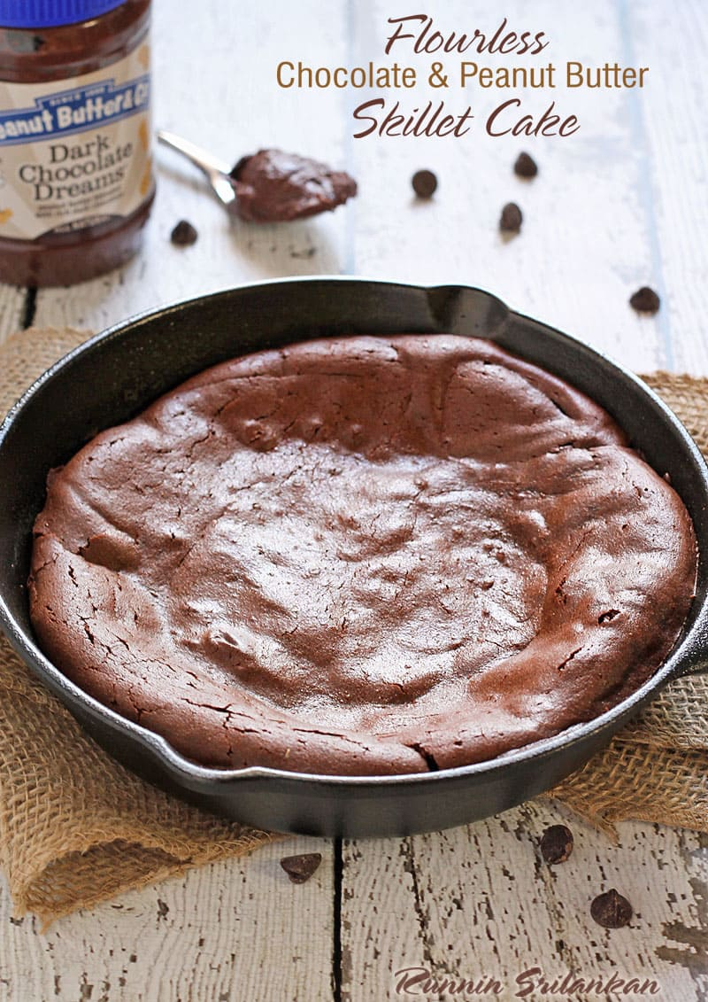 Flourless Chocolate & Peanut Butter Skillet Cake