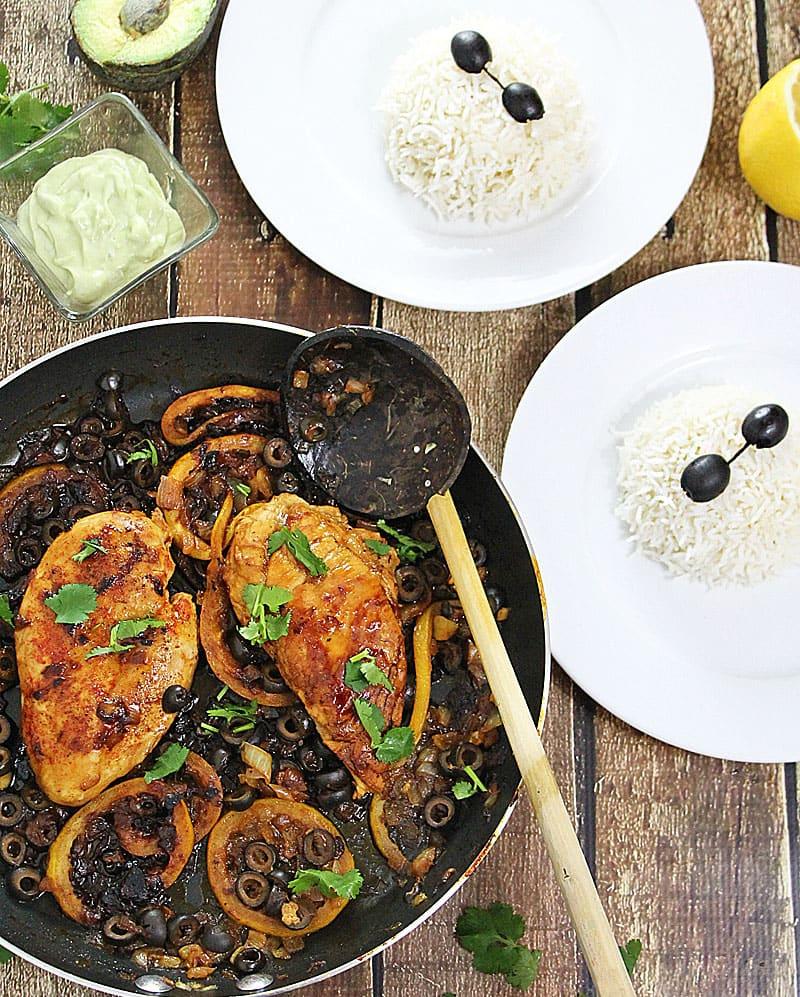 Lemon Honey Chicken with Wasabi Avocado Cream Sauce and Vanilla-Infused Rice