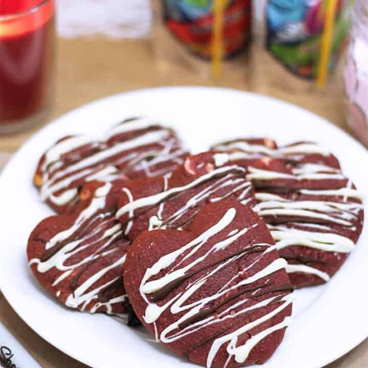 Plate of Red Velvet Chocolate Chip Cookies