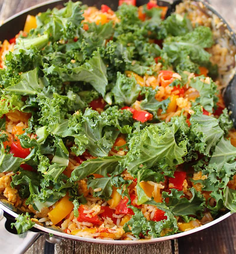 Peppers and eggs and kale