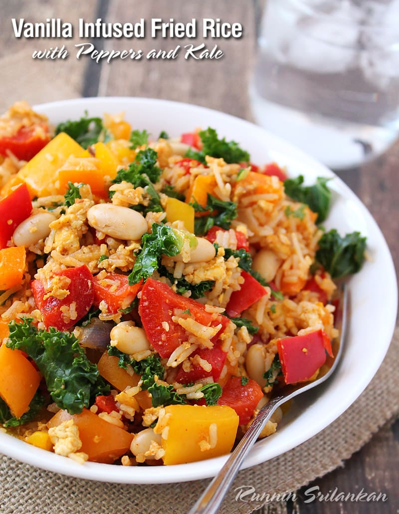 Vanilla Infused Fried Rice with Kale and Peppers @RunninSrilankan