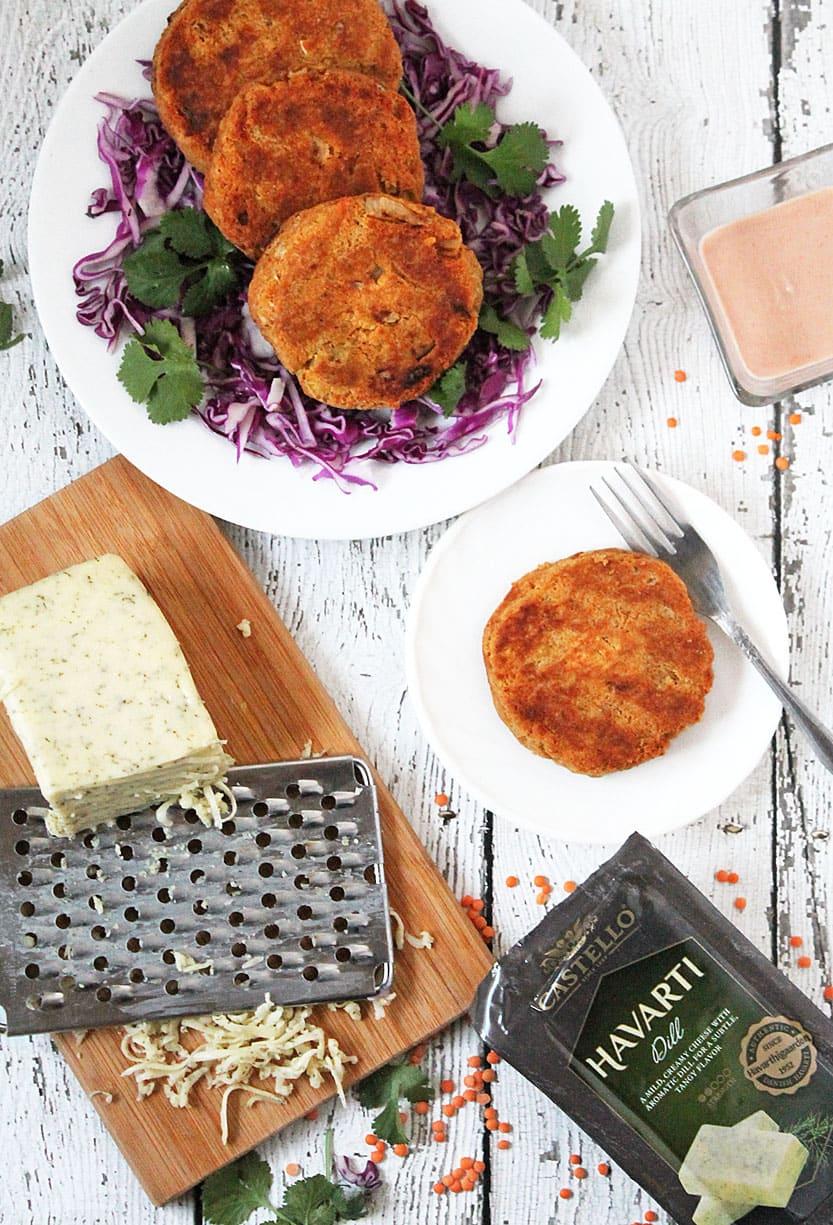 Vegetarian Lentil & Dill Cheese Burgers @RunninSrilankan