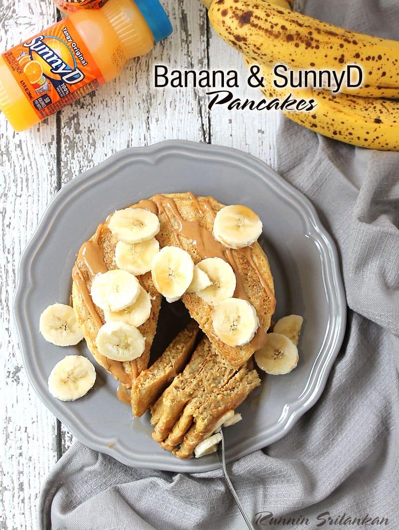 Gluten and Dairy Free Banana and SunnyD Pancakes #WhereFunBegins @RunninSrilankan
