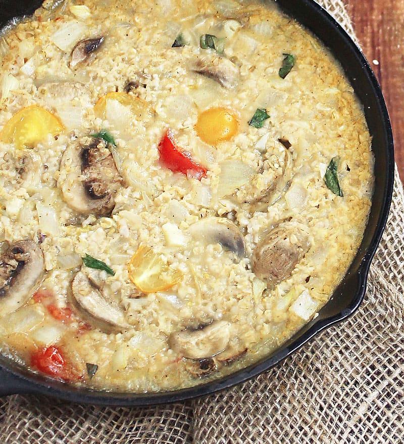 Oatmeal-Risotto-Baked-With-Tomatoes-Mushrooms-Basil-@RunninSrilankan