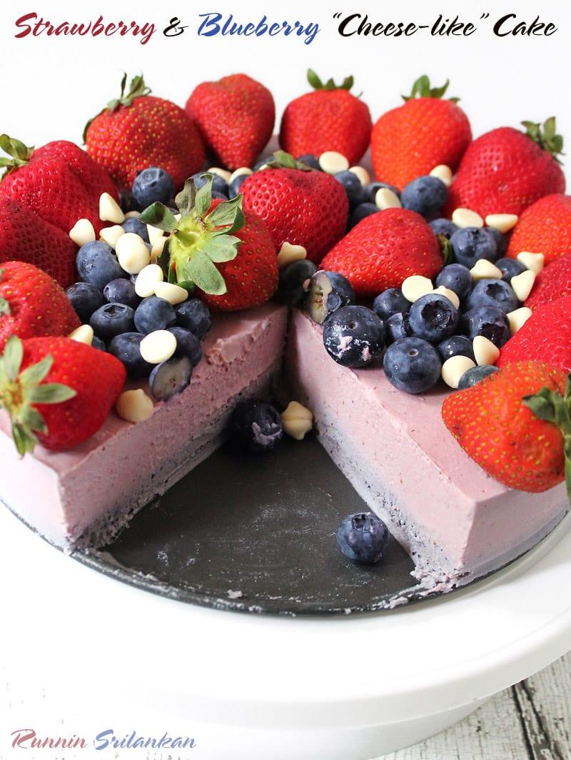 A Dairy-Free Strawberry Blueberry Icebox Cashew Cake