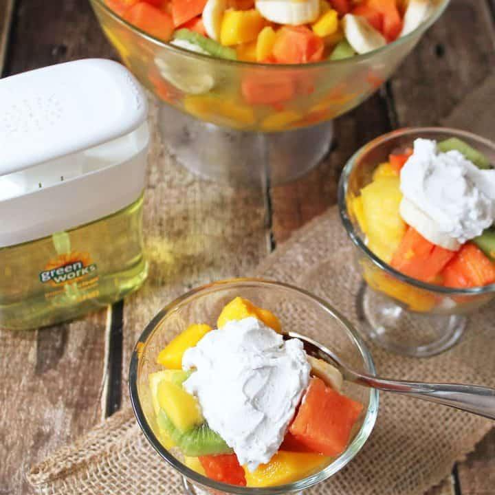 Clorox Green Work s Pump-'N-Clean Helped with Fruit Salad Clean Up #NaturallyClean