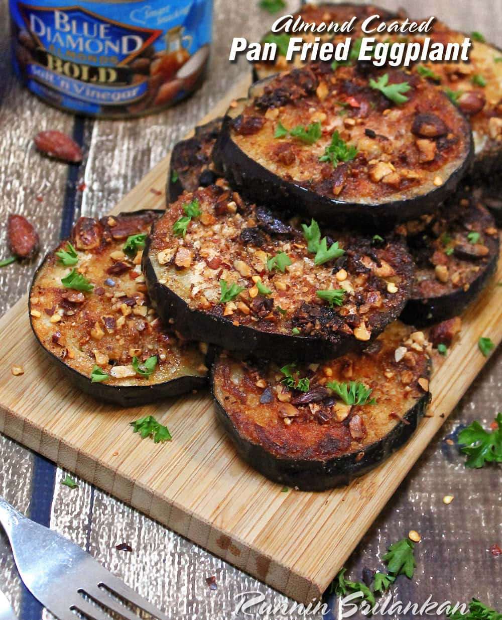 Almond Coated Pan Fried Eggplant