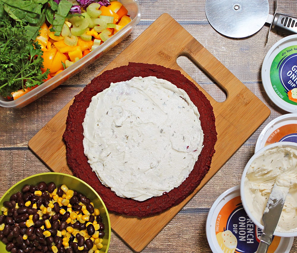 Beet Pizza with Green Onion Dip as a Base