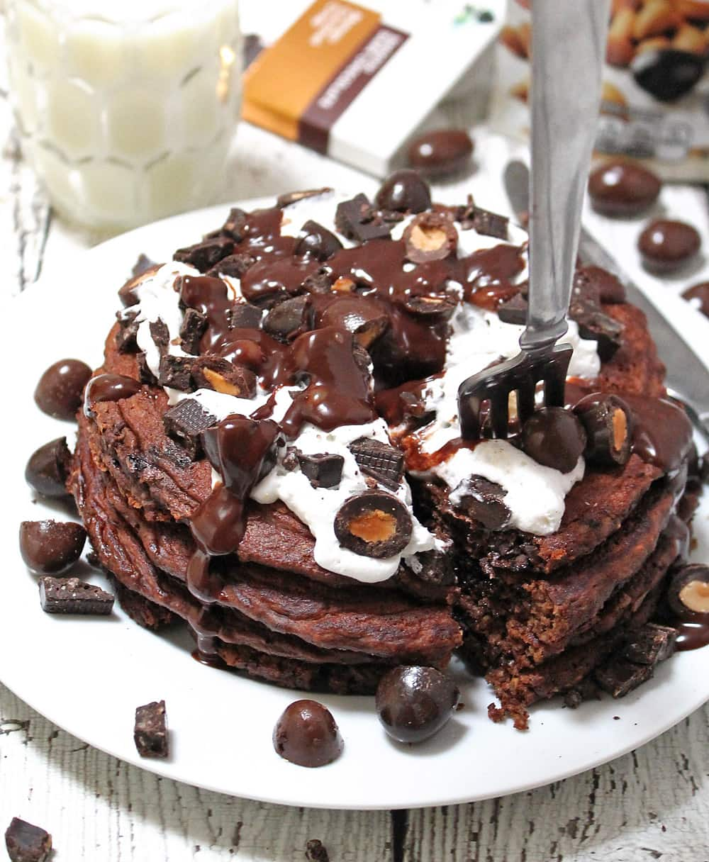 Chocolate Oatmeal Pancakes With Brookside Chocolates