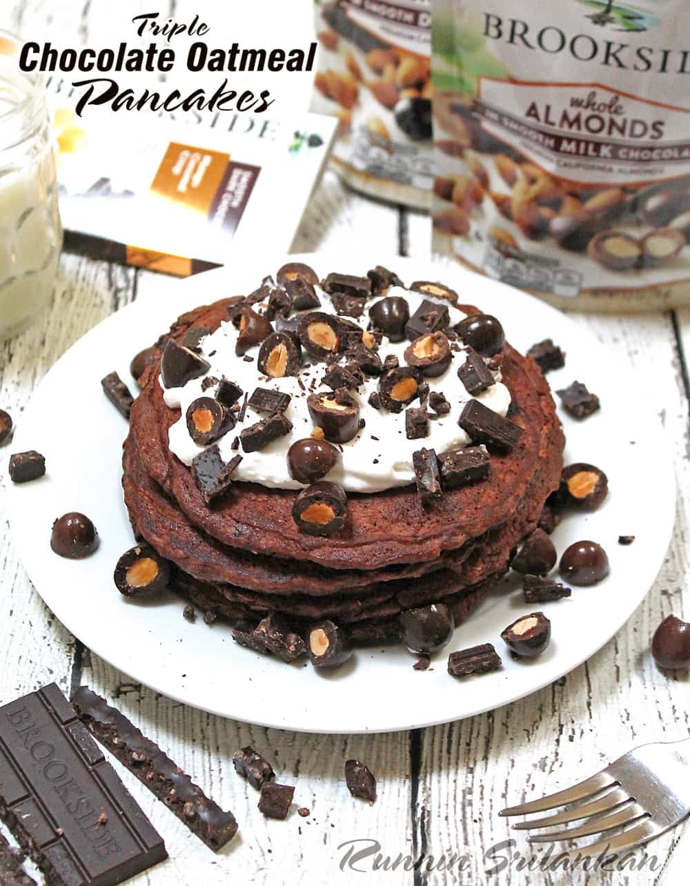 Triple Chocolate Oatmeal Pancakes #DiscoverBrookside