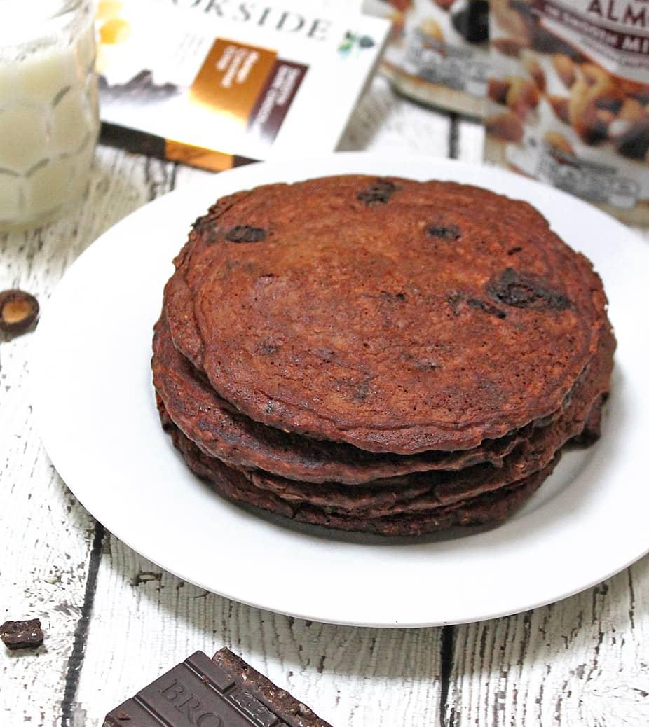 Triple Chocolate Oatmeal Pancakes