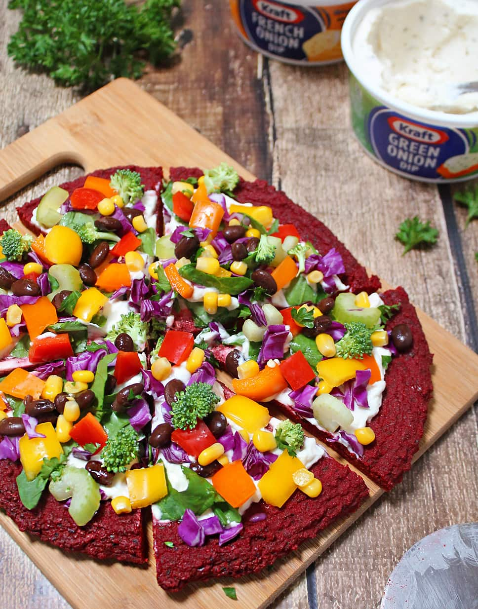Veggie & Dip Topped Beet Pizza