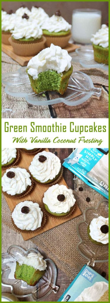 Simple Easy Green Smoothie Cupcakes with Vanilla Coconut Frosting