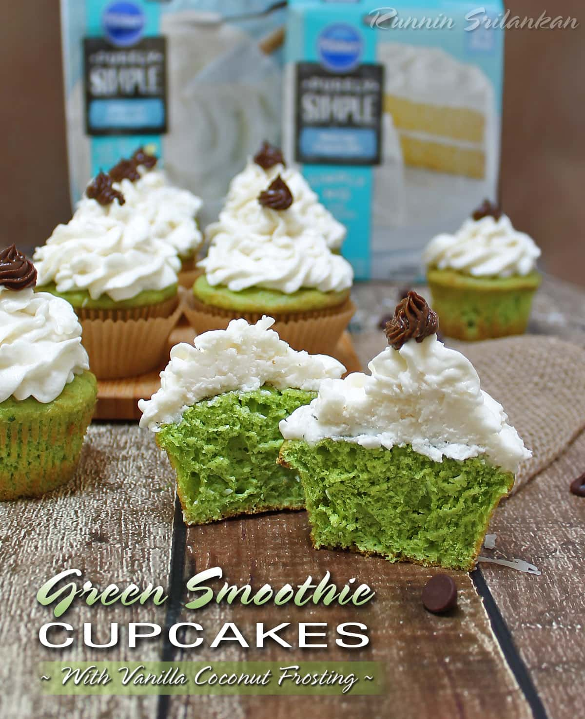Green Smoothie Cupcakes Vanilla Coconut Frosting #PurelySimple