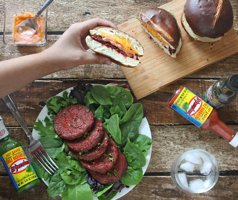 Beet & Bean Burgers with El Yucateco Hot Sauce