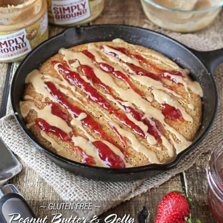 Gluten-Free Peanut Butter Jelly Skillet Cake #SpreadTheMagic
