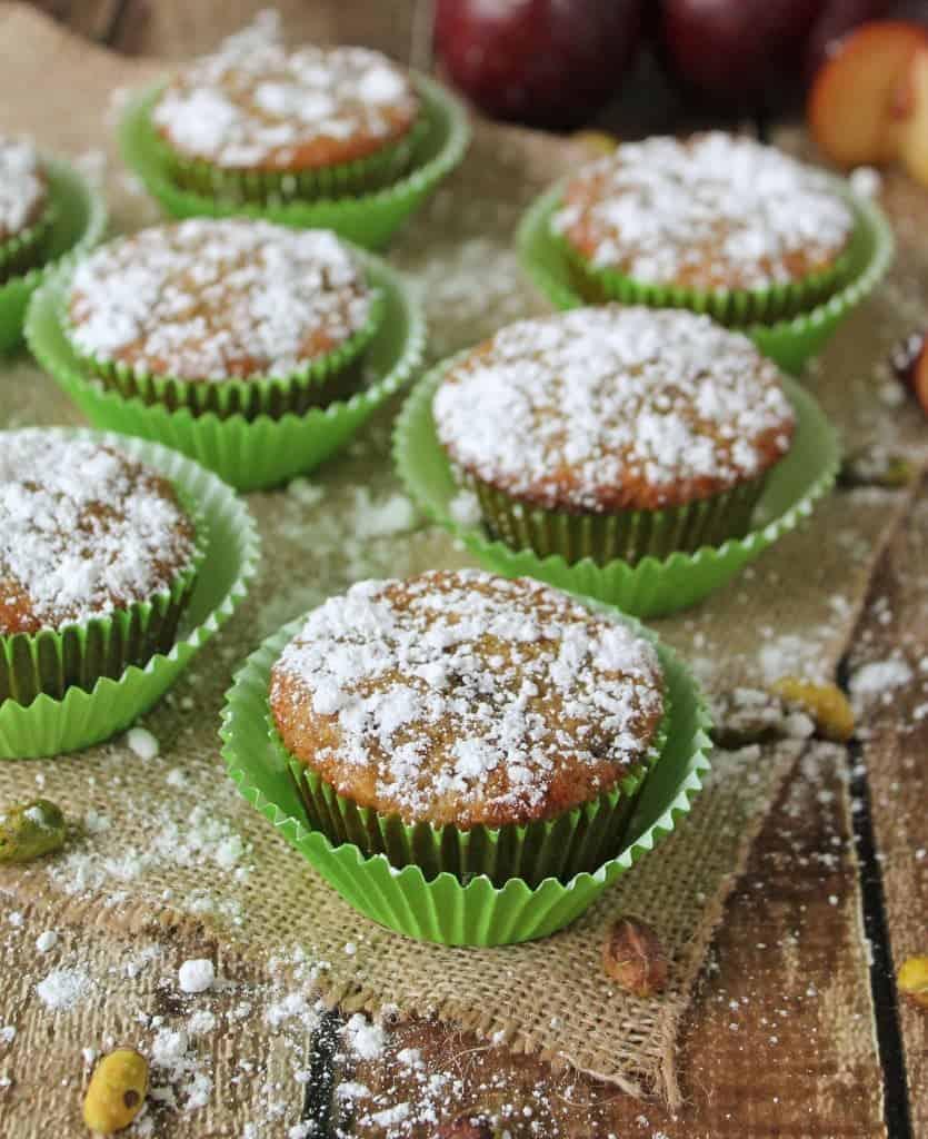 Gluten Free Pistachio Plum Muffakes
