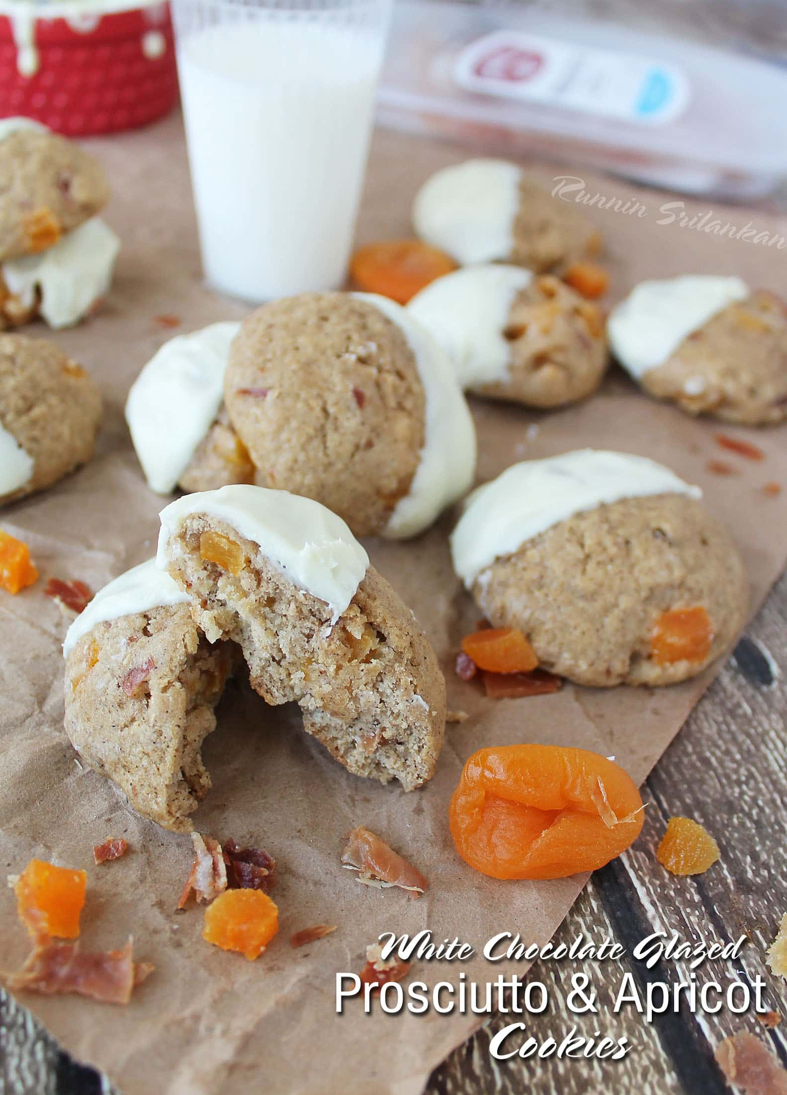 White Chocolate Glazed Prosciutto & Apricot Cookies #PairsWellWithHolidays
