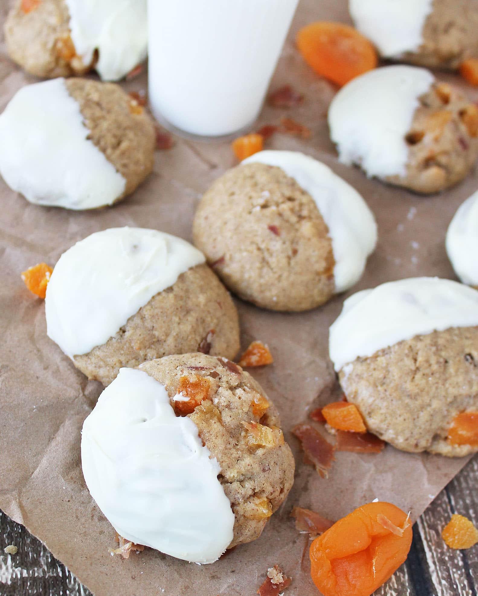 Gluten Free White Chocolate Glazed Prosciutto & Apricot Cookies