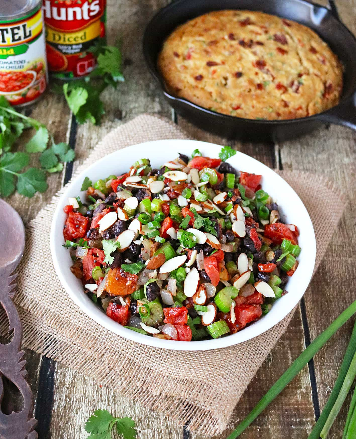 Celery Bean Tomato Sald is the perfect accompaniment to Tomato Bacon Skillet Bread - both are ready in 40 minutes!
