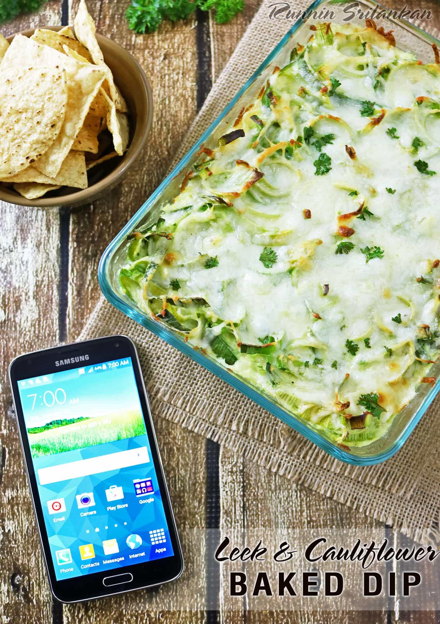 Leek Cauliflower Baked Dip perfect for #DataAndAMovie