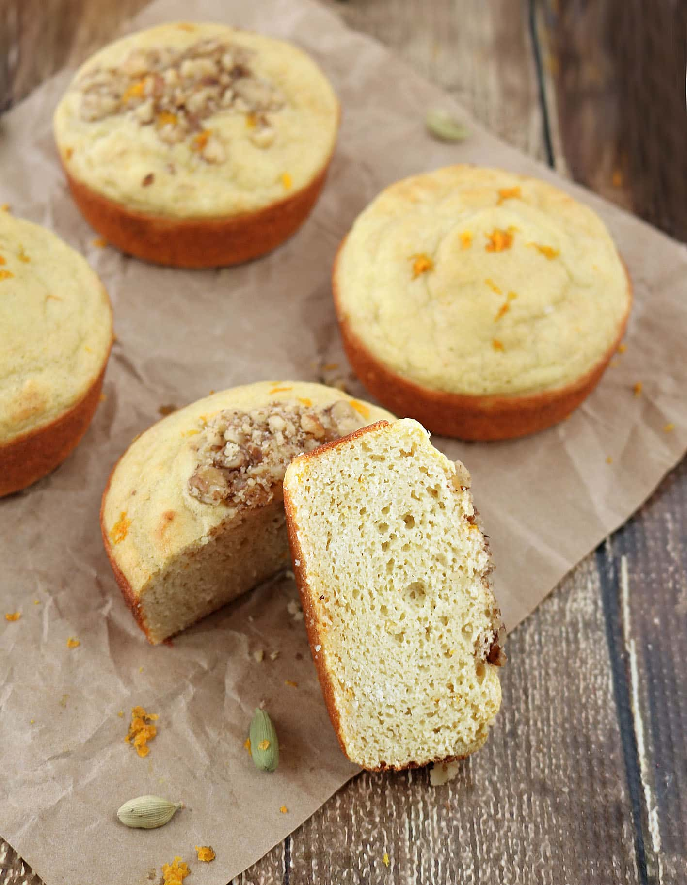 Orange Cardamom Protein Muffins are also gluten and dairy free #MyOneMore