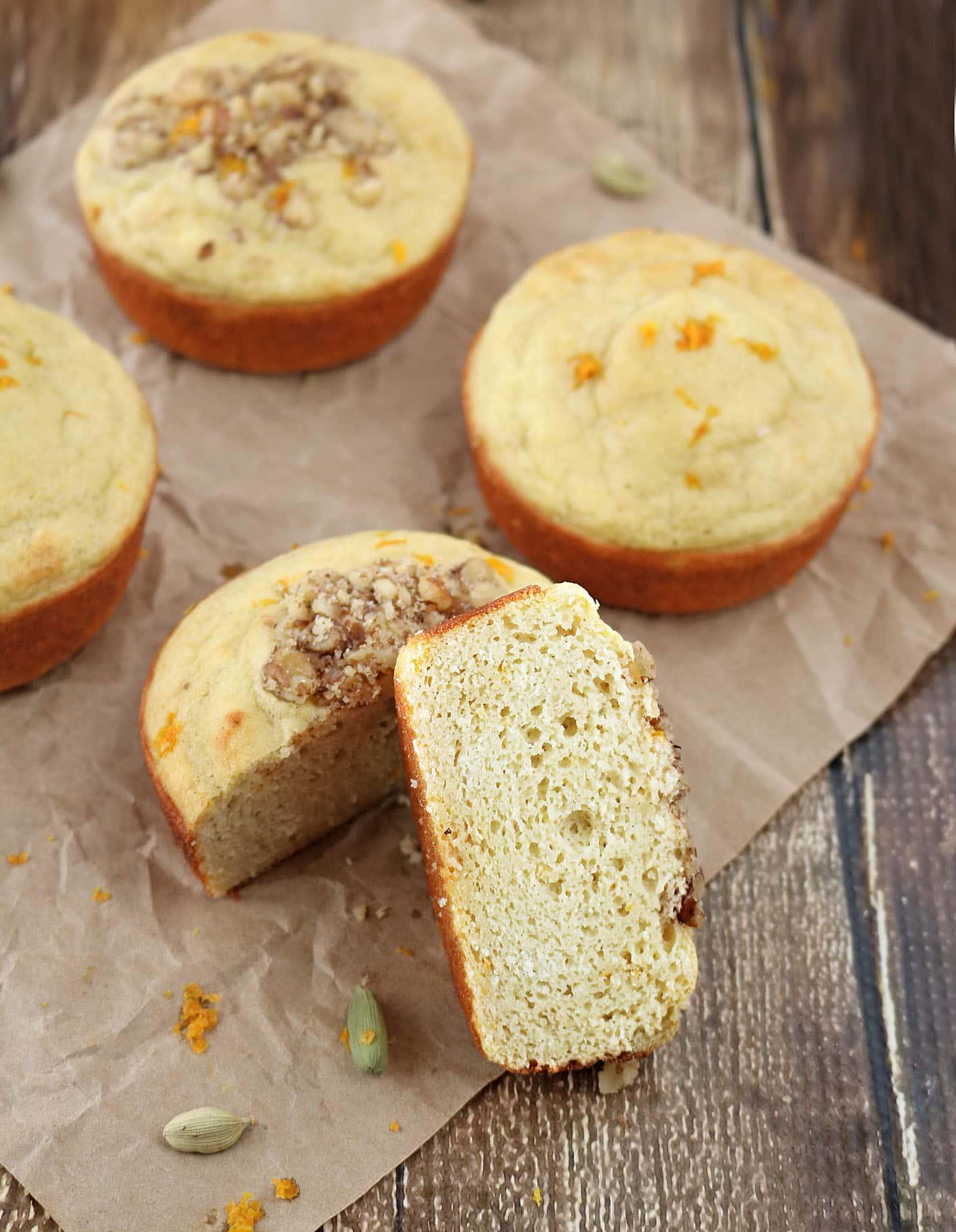 Orange Cardamom Protein Muffins are also gluten and dairy free #MyOneMore