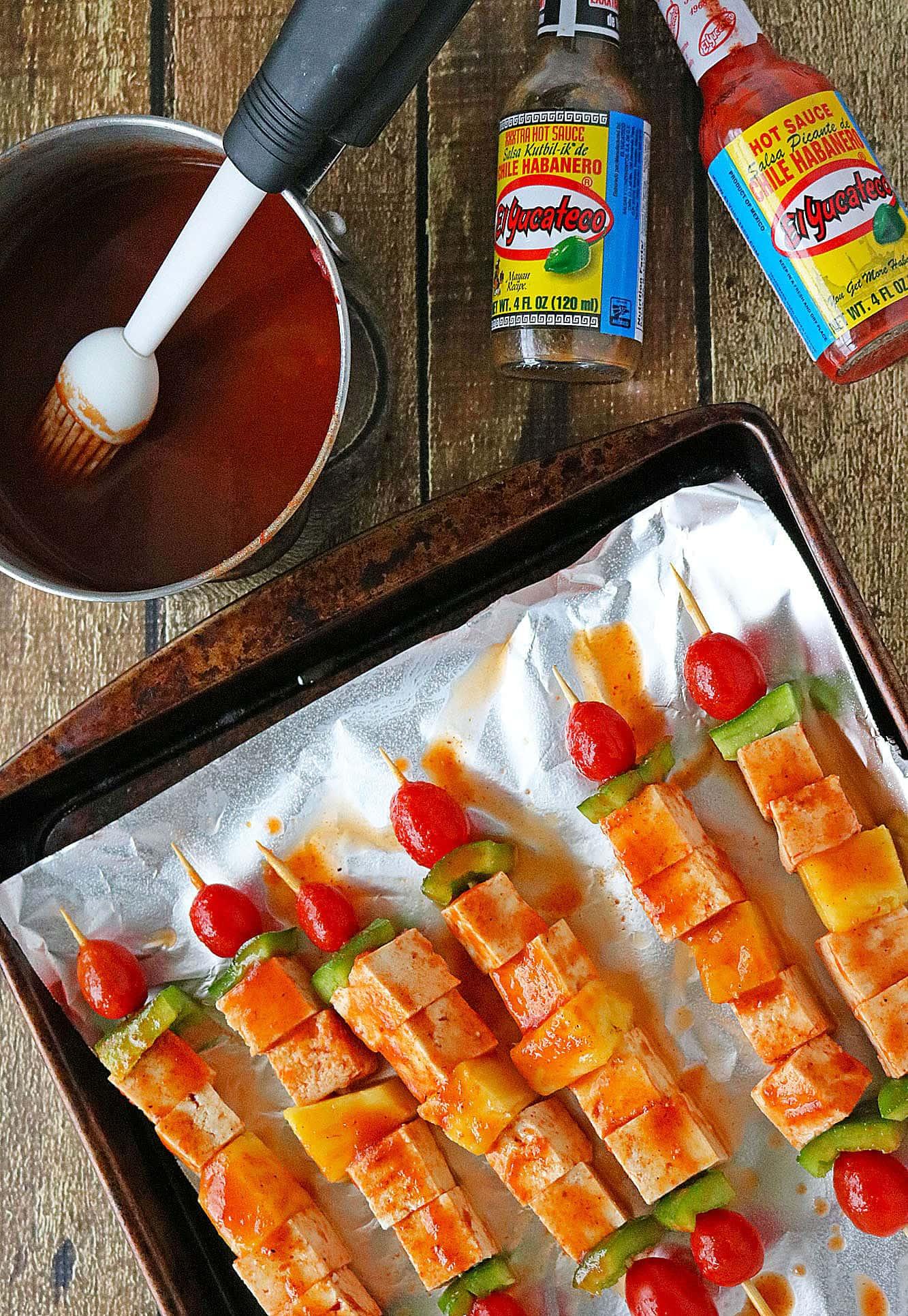 Spicy & Sweet Pineapple Tofu Skewers #KingOfFlavor