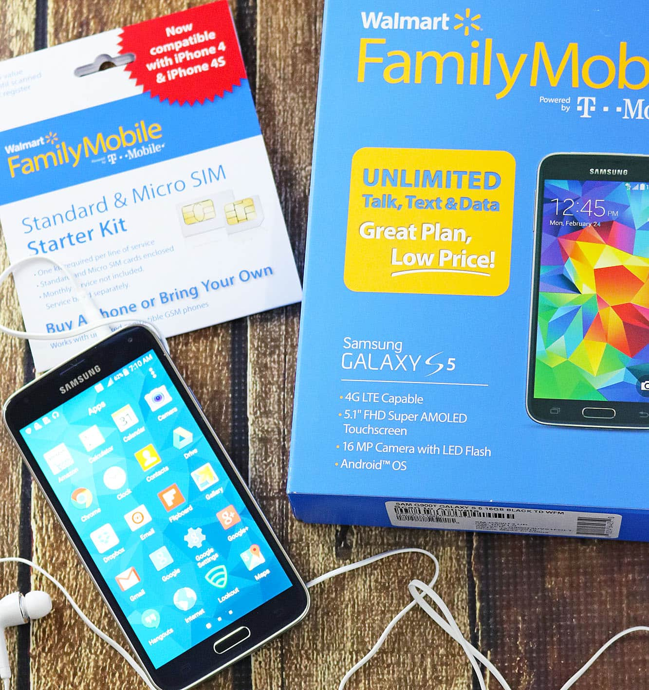 Walmart Family Mobile New 10GB of 4GLTE talk text data plan and Samsung Galaxy S5